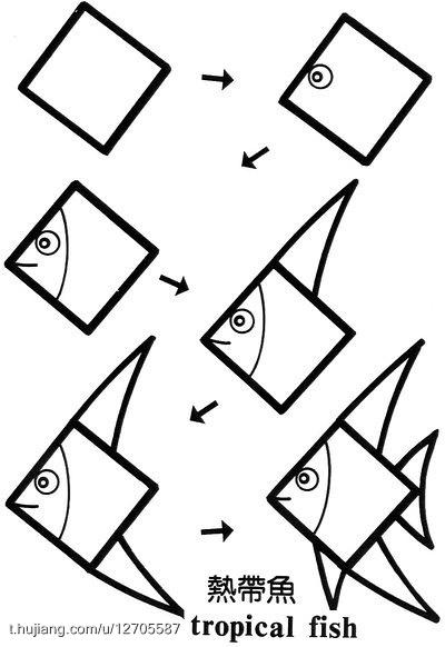 简笔画学单词热带鱼:tropical; 关于正方形的简笔画,考验你的想象力!图片