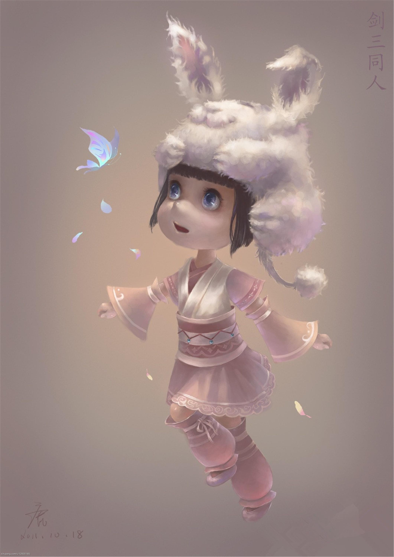 手绘q版戴兔兔帽的缎袍小萝莉; 剑网三,各种有爱玩家原画手绘萌图!