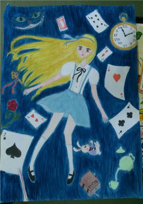 即兴水彩手绘爱丽丝梦游仙境